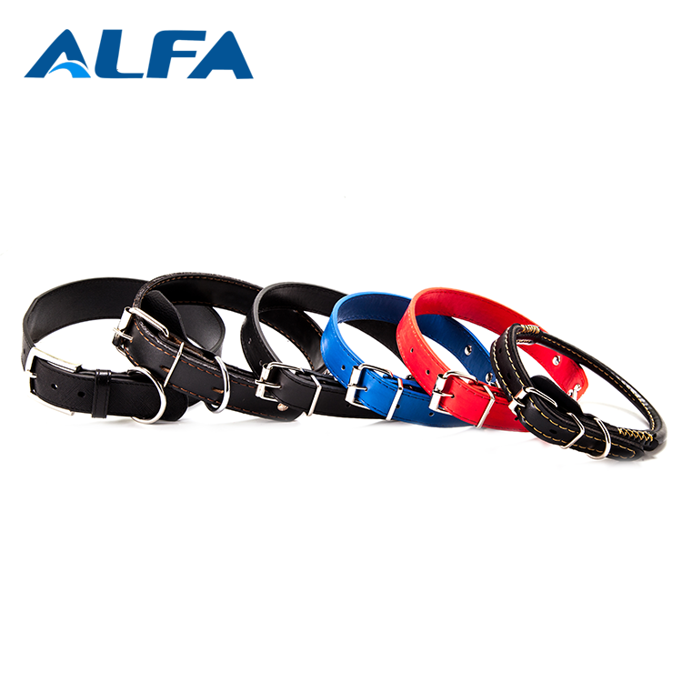 Alfa Quality Products Pet Accessories PU Leather Dog Neck Belt Custom Printed Dog Collar