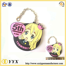 heavy duty cute cartoon soft rubber keychain with custom design flat key ring