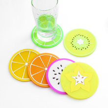 Custom colorful fruit shape table mats silicone cup coaster