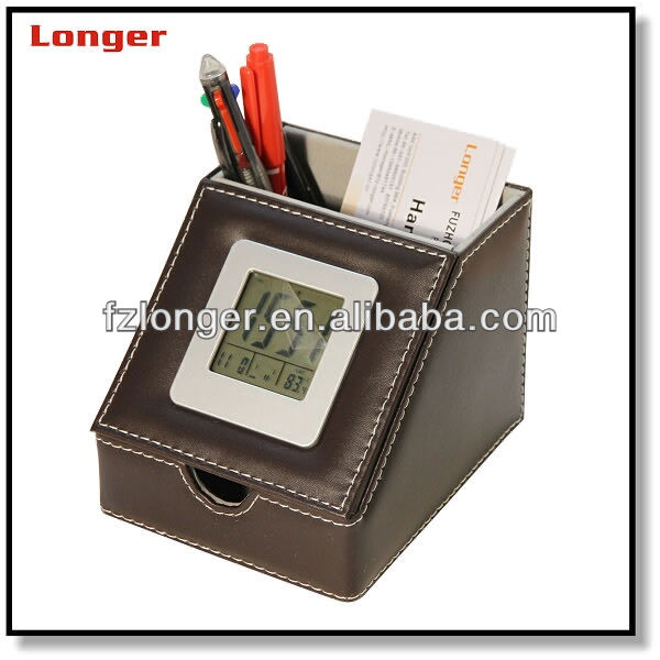 Luxurious pen holder with note box and LCD clock LG-B001B