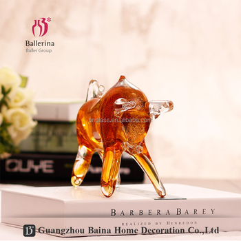 Home accessories decoration art glass animal amber colored sculpture