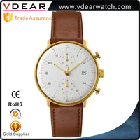 Chic water proof nickel free strong luminous unbranded new model custom quartz watches with handmade leather strap
