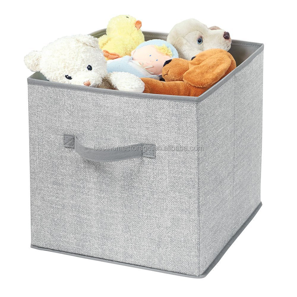 "Breathable PP Fabric Storage Cubes With Handle,Space Saving For Bedroom,Playroom,13.5"" x 12.5"" x 12.75"" (Gray)"