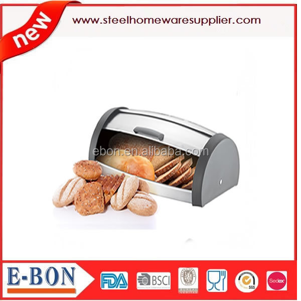 new designed stainless steel roll top bread bin with <strong>plastic</strong>