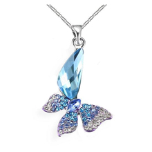 Different Color Crystal Big Stone Pendant Design 925 Silver o Chain Necklace