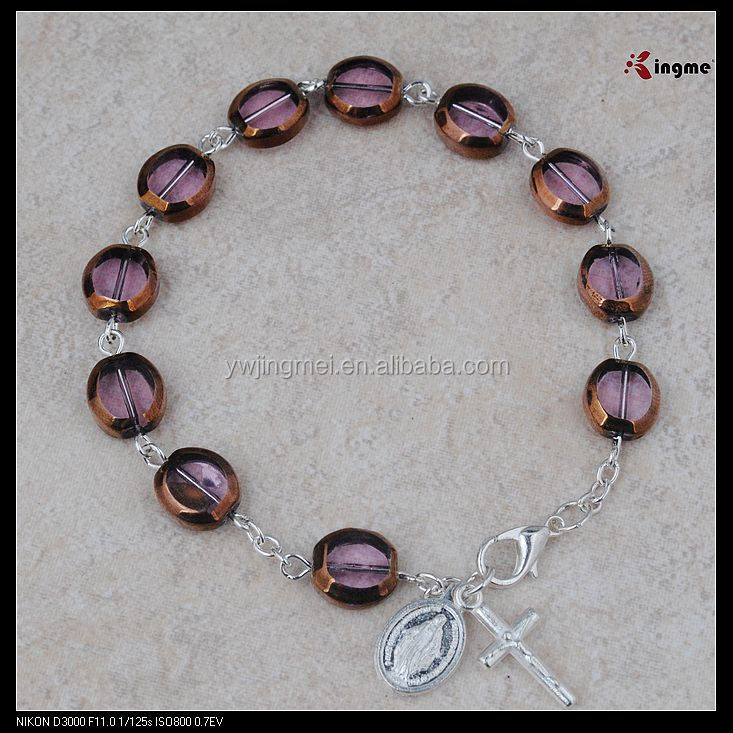 High quality charm flat purple glass bead rosary bracelet,rosary bead bracelet