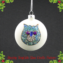 Blown white glass flat ball painted cat hanging christmas tree decoration