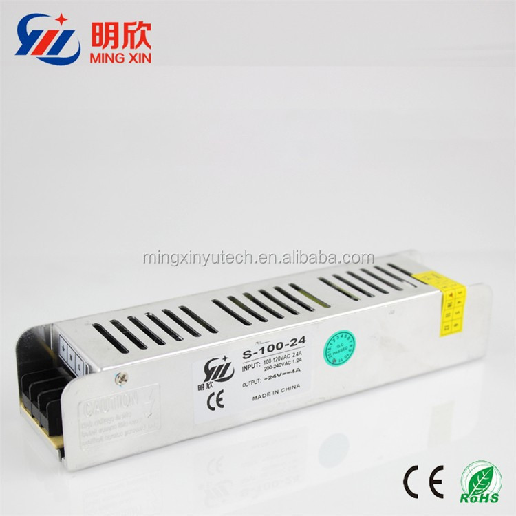 ac 85-264v SMPS 100W dc 24V 4A strip shape /slim case Switch Power Supply