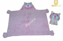Plush Pink Cotton Terry Toweling Animal Hooded baby swaddle blanket