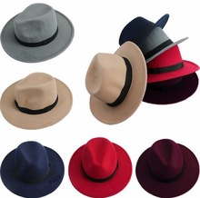 Wholesale vintage classic wide brim faux wool felt fedora men woman panama hat