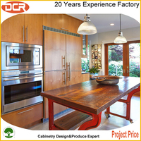 Simple design wood door mahogany wood kitchen cabinets for apartment porject