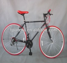 Fixed Gear Bike City Bicycle 26'' urban Cruiser Black and Red Bike for Commuting Road Bike