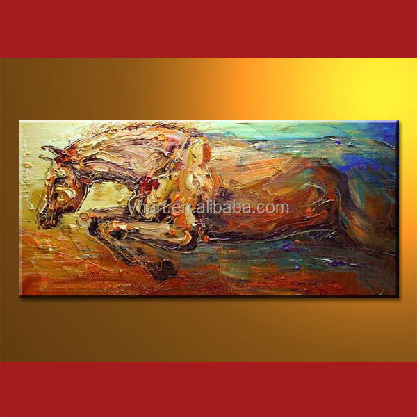 Modern Handmade Abstract Modern Horse Oil Painting