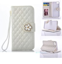 Gird pattern Pearl Flower leather cover with card holder for iphone7 wallet stand cell phone case