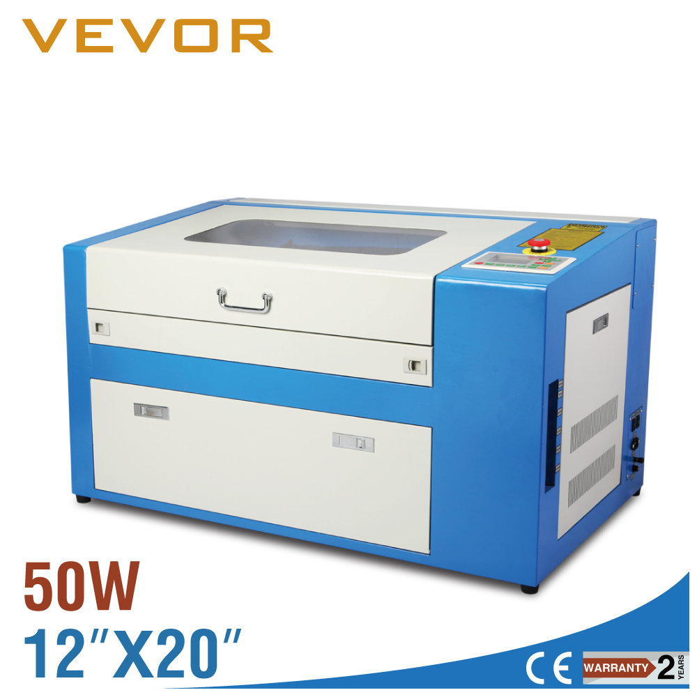 50W CO2 Laser Engraving Machine Engraver Cutter With Auxiliary Rotary Device 3d laser engraving machine