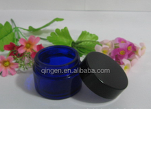 empty 80g BLUE cosmetic container glass cream packaging jar for mason/skin care/cream