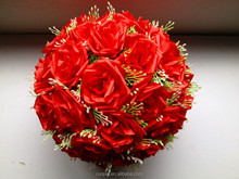 Artificial silk/rose flower ball for wedding or festival decoration