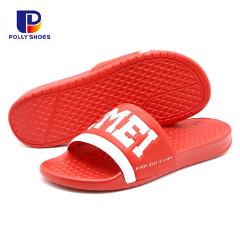 Latest Design 2019 Custom Logo PU Summer Slipper Shoes Men
