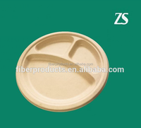 Biodegradable 3 compartment dinner plates