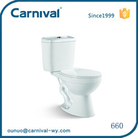 Ceramic bathroom sanitary ware siphonic two piece toilet bowl 660