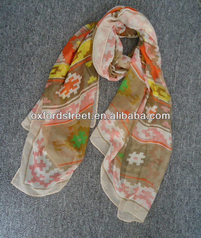 fashion colourful eclectic Voile scarve