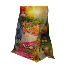 5LB Food Grade Side Gusset Flat Bottom Bird Feed Packaging Plastic Bag With Custom Design