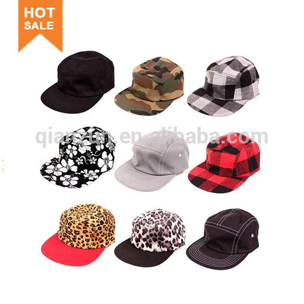 New Design 5 Panel Hat Cap Strap Back Flat Brim Snapback Hat Skate Camp Army Blank Plain Five Panel Hat And Cap