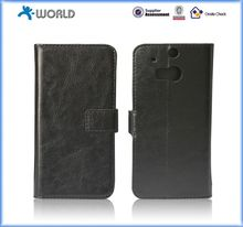 Black PU Leather Wallet Cover for HTC M8 MINI