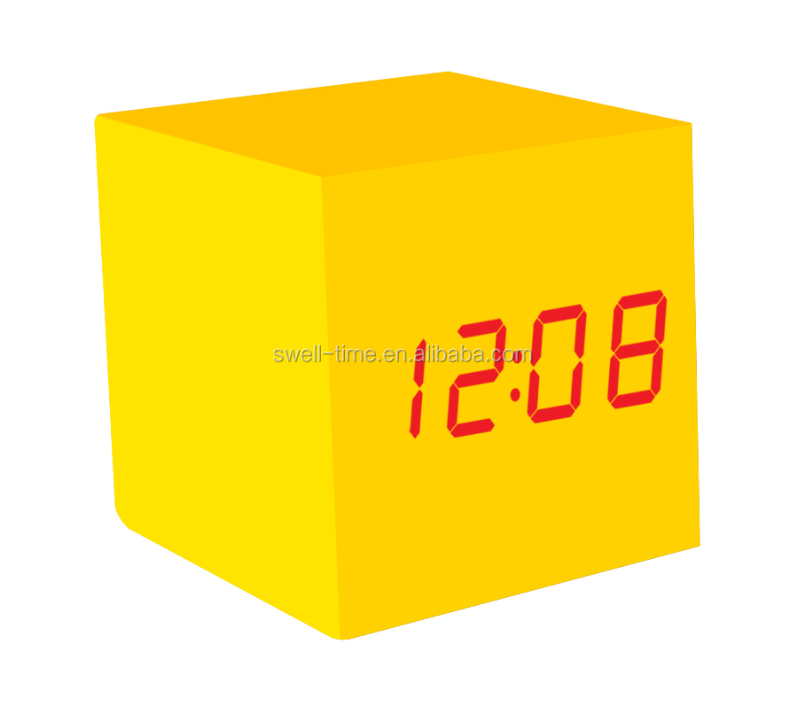 Best selling desk cube LED Wood alarm clock comply with CE ROHS - S714