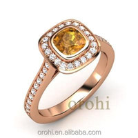 Cussion cut 0.2 Ct yellow citrine solid rose gold halo set diamond ring