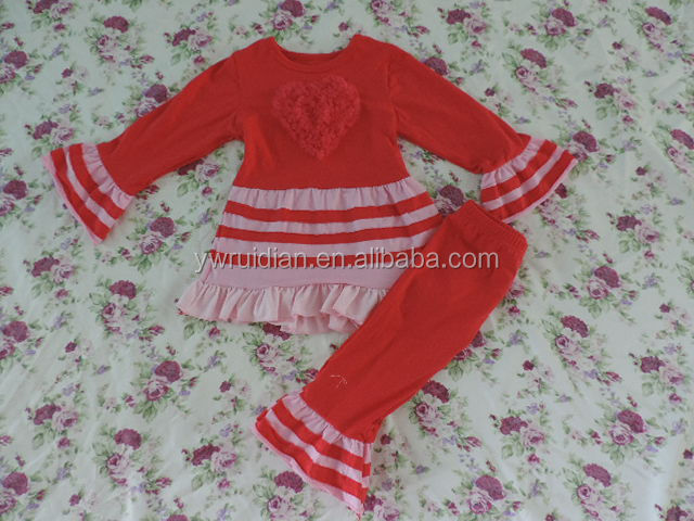 Children Wholesale Baby Girl Long Sleeves Ruffle Shirt Dress Ruffle Pants Red Christmas Outfit Knit Cotton Children Clothes