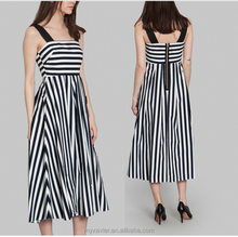 women dress Navy blue and white striped cotton party dress black shoulder straps prom dress high waist with large front pleats