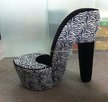 high quality comfortable relaxing fashion Zebra and Black High Heel Shoe Chair