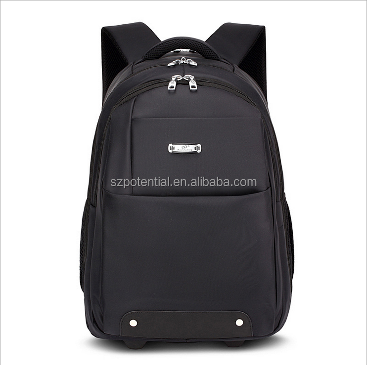 Customize logo and color pull rod travelling backpack shoulder laptop trolley bag