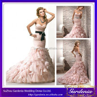 Fashion Designers High Quality Full Length Sweetheart Neck Puffy Skirt Mermaid Black and Pink Wedding Dresses (ZX870)