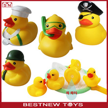 Wholesale baby bath toy yellow duck funny rubber duck toys set