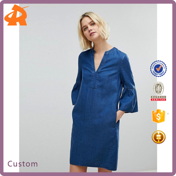 guangzhou factory customize light blue denim lady dress,casual flare sleeve girls dress