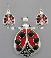 Lady Bug with Black Stones Beatles Pendant and Earring Set