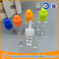 China supplier square PET e liquid dropper bottles with childproof cap