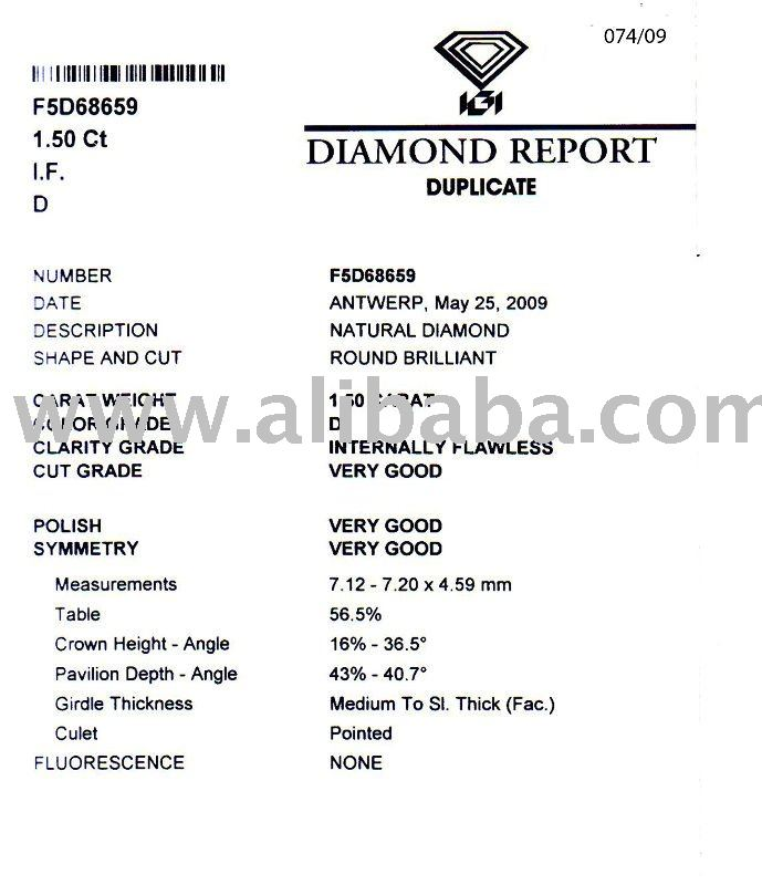 LOOSE POLISHED IGI CERTIFIED DIAMOND 1.50 CT D/IF