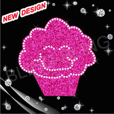 cake glitter with flocking ,hot fix motif