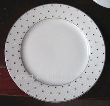 Popular white porcelain plate with stone