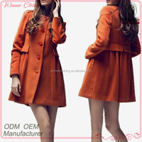 Hot selling new design long sleeve orange wool fancy/beautiful winter coat