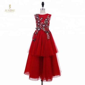 Red Puffy Tulle Embroidery 3D Butterfly Dress Baby Girl