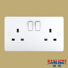 UK type 2 gang 3 pin single pole/double pole 13A switched socket