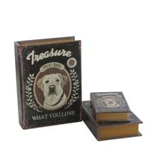PET DOG home decor decoupage book box at theatre with cracked leather