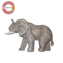 antique hand carved wooden elephant carving