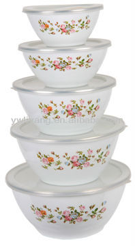 Popular 5 Pcs White Deep Enamel Storage Bowl Set Cast Iron Cookware Set Salad Bowls