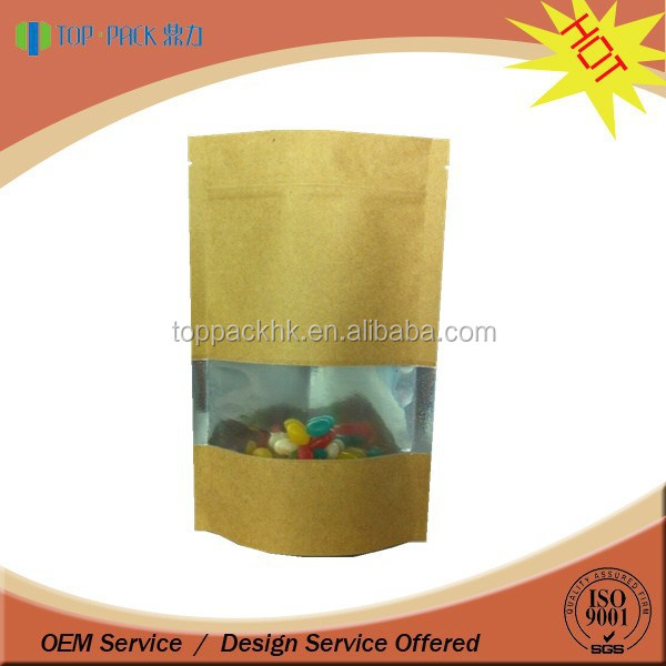 Aluminum foil ziplock stand up coffee kraft paper bag with window