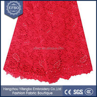 Embroidered lace materials red high quality african guipure cupion lace for nigerian aso ebi 2016